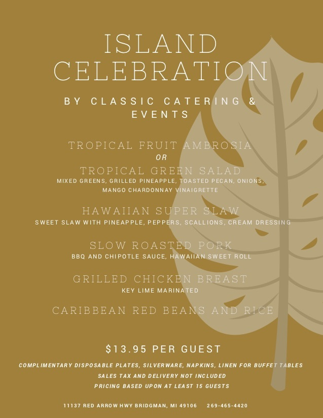 Classic Catering Island Celebration Menu