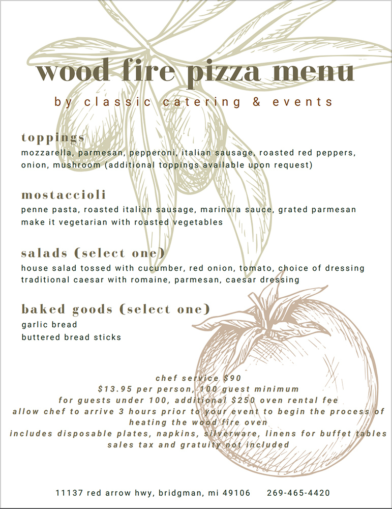 Wood Fired Pizza Oven Menu