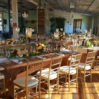 Harvest Tables With Chivari Chairs