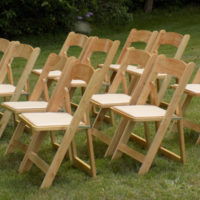 Natural Oak Folding Chair Group
