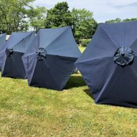 Navy Umbrellas Side