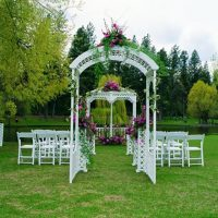 White Lattice Arch Outdoor Sq