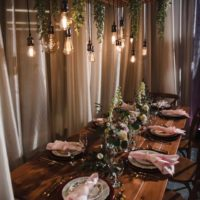 Rustic Chandelier & Harvest Table