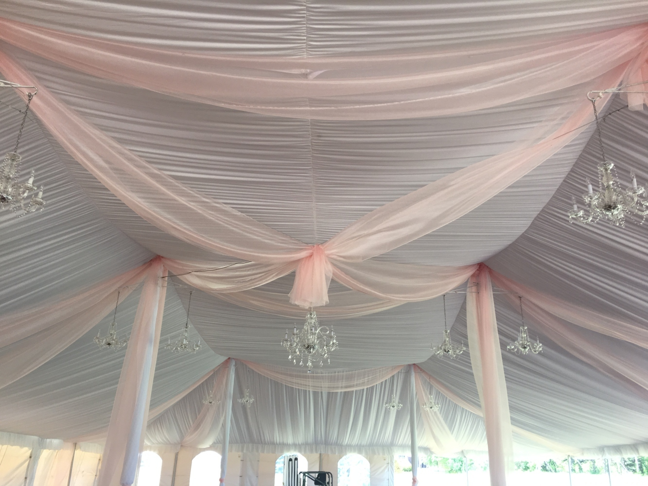 Tent Liner With Blush Draping Crystal Chandeliers
